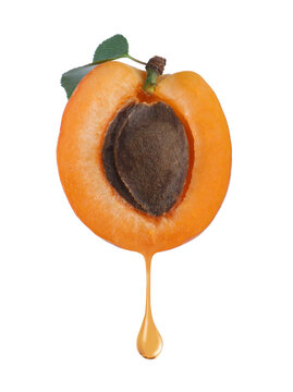 Apricot kernel oil dripping from fresh fruit half on white background