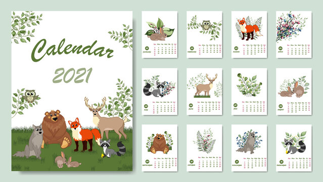 Forest calendar for 2021 year. Printable planner of 12 months with cute animals. Bear, fox, rabbit, wolf, deer, raccoo.  Cute forest animals.  Woodland characters. New Year