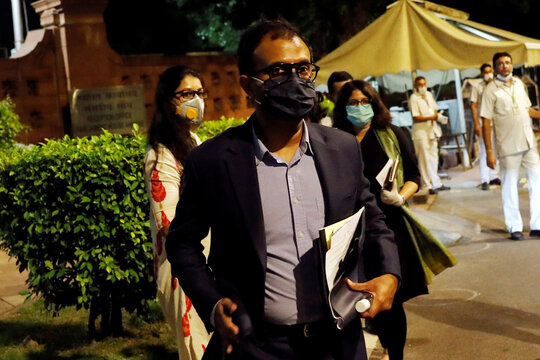 Ajit Mohan of Facebook India leaves after meeting with parliamentary panel in New Delhi