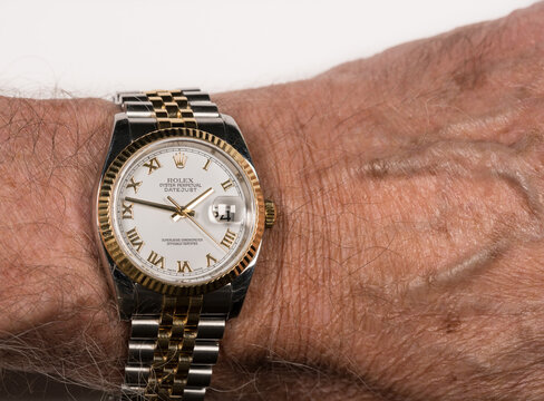 Rolex Oyster Datejust mens watch on old male wrist