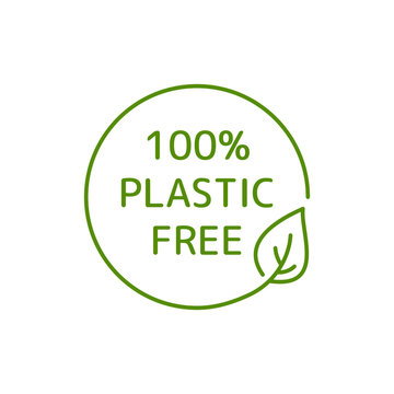 Plastic free vector logo for 100% recycle and sustainable bag badge or label. Green icon for reusable and BPA free warranty packaging paper sticker design. Line vector illustration with eco leaf V1