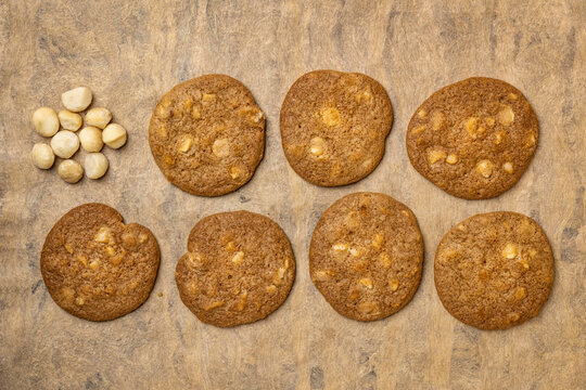 background of macadamia nut cookies on a handmade bark paper