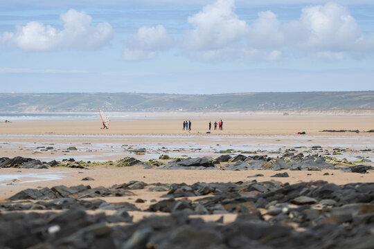 sand area, tremplin, beach blue, , mer, océan, eau, côte,, ciel, bleu, plage