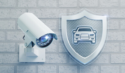 Surveillance Camera System for a Car Security. External surveillance camera mounted on a brick wall beside of a metallic shield with a car emblem in center of it. 3D rendering graphics.