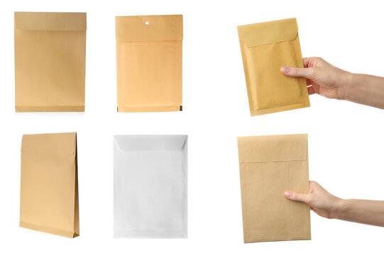 Collage with photos of people holding paper envelopes on white background, closeup