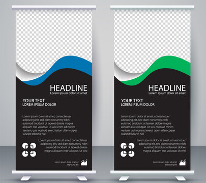 Vertical Banner business roll up standee Modern Mockup Template. Design Graphic EPS10