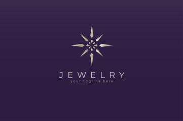 Jewelry Logo, jewel luster logo inspiration, flat design logo template, vector illustration