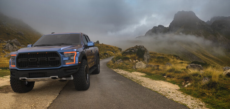Ford F-150 Raptor with a mountain landscape in the background