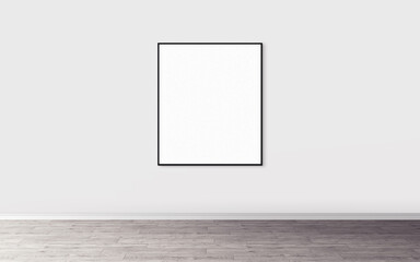 White blank poster with slim frame on wall. Empty mock-up for you design preview. Good use for presentation.