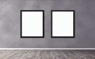 Two white posters with frame on wall. Mock up for you design preview. Good use for advertasing materials.