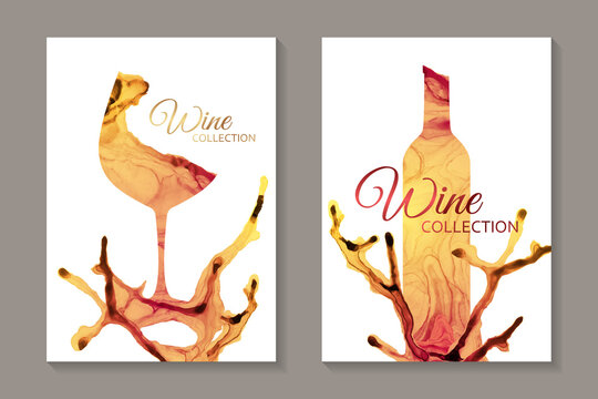 Modern abstract card templates for wine tasting invitation or poster or banner or presentation with yellow glass and bottle in alcohol ink style on a white background.
