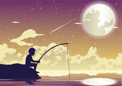 People avtivity and life scene of tha boy is sitting to fishing