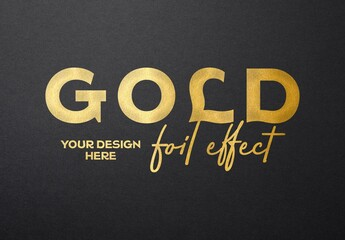 Gold Hot Foil Text Effect Mockup