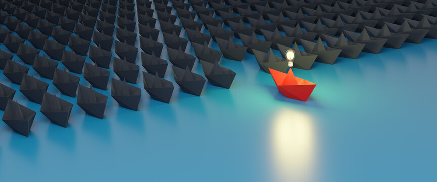 think outside the box,Leadership,teamwork and courage concept.Unique red isometric paper ship and many white ones on turquoise blue sea.3D Rendering.