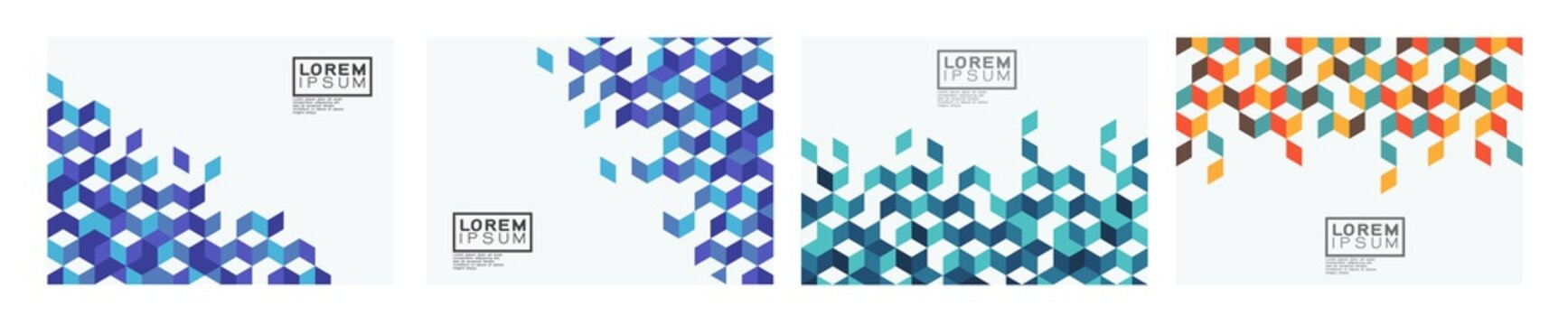 Set of template with colorful square pattern on corner position and white space. Modern geometric background for business or corporate presentation. Vector illustration