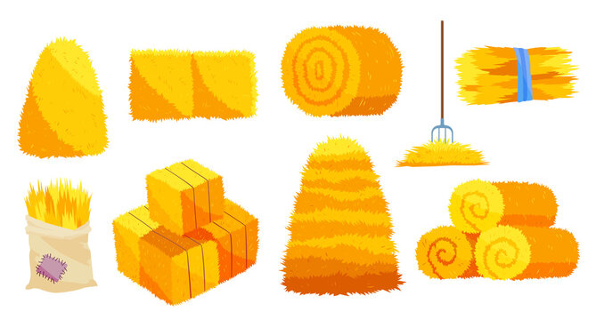 Collection of hays. Flat vector illustration dried haystacks with fork. Rolls of hay. A supply of feed for livestock, the object of agriculture. Farm straw bale nature agriculture