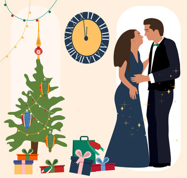 New Year`s night.Man and woman celebrating, kissing to the chimes.Christmas tree with toys and garlands,fireworks.A lot of gifts, present boxes with bows.The clock shows midnight.Greeting card,poster