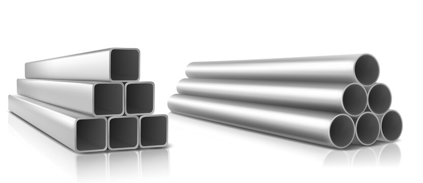 Pipes stack, square and round straight steel metal or pvc plumbing pipelines. Industrial pieces for conducting factory or construction works isolated on white background, realistic 3d vector set