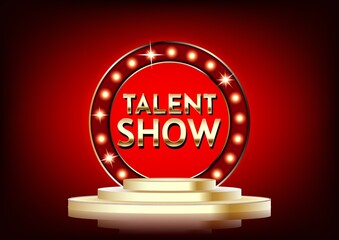Talent show banner, poster, gold lettering advertisement or invitation, event,