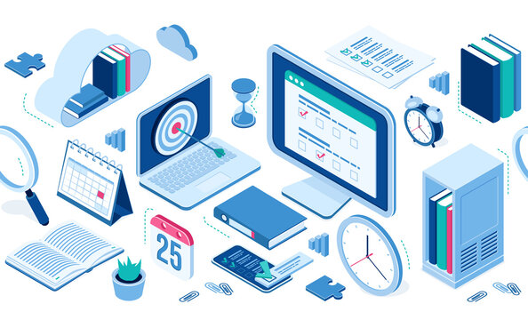 Isometric icons cloud with books, computer and smartphone, office supplies, alarm clock and table calendar, folder with files, clips. Infographics elements for web site design, 3d vector isolated set