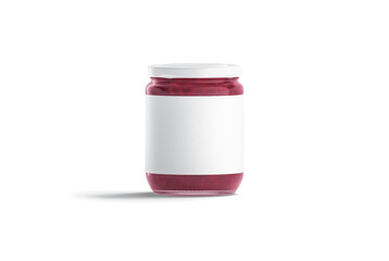 Blank glass jar with white label and berry jam mockup