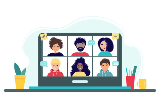 Online meeting via group call. Home office concept with laptop, plant and cup. Group of people doing video conference. Vector illustration in flat style. Stay at home. Self-isolation.