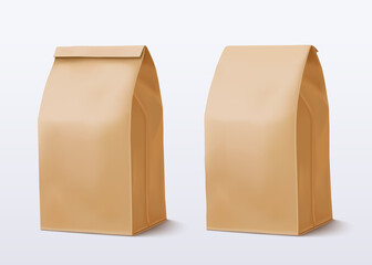 Paper bag on white background. Brown Shopping Bag. Two Craft package. Vector illustration