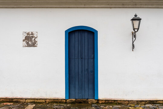 Detail of blue door of brazilian colonial house