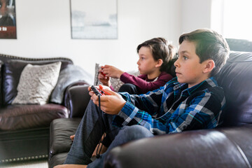 Brothers playing computer games on sofa