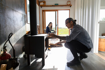 Couple spending weekend in small home