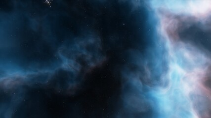 Space background with realistic nebula and shining stars. Colorful cosmos with stardust and milky way. Magic color galaxy. Infinite universe and starry night. 3d Render