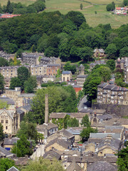 aerial view of the town of hebden bridge in west yorkshire in summer