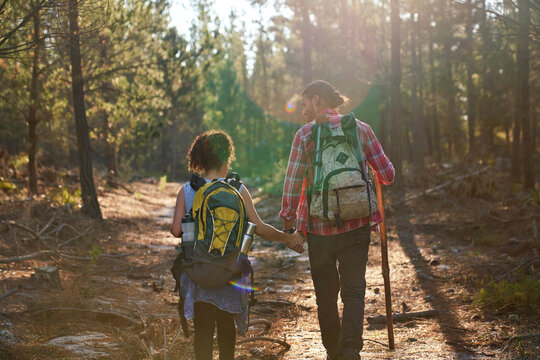 Young couple hiking with backpacks in sunny summer woods