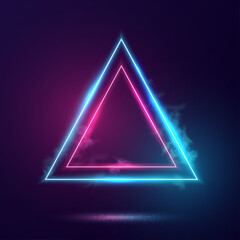 Triangles neon lights frame.