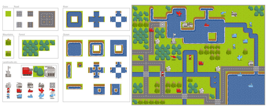 Game map tiles set for building plains mountains forests rivers and oceans with military assets and locations