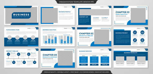 set of corporate presentation template design with minimalist concept and modern layout use for annual report and business profile