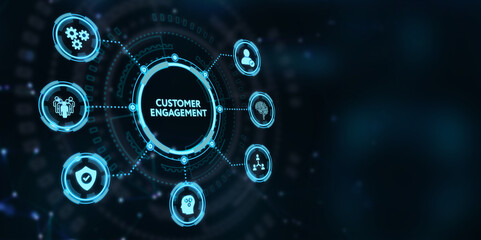 Business, Technology, Internet and network concept. Shows the inscription: CUSTOMER ENGAGEMENT.