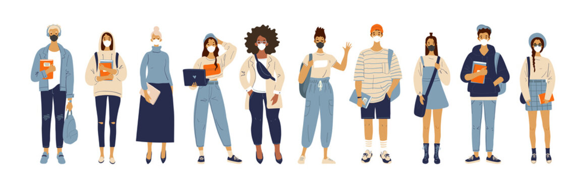 A group of different standing people in masks and respirators. Men and women, schoolchildren and students, prevention of the coronavirus pandemic. Flat cartoon vector illustration
