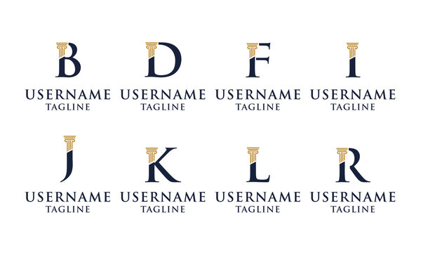 Set of Elegant Initial pillar, Law firm, attorney logo design Template