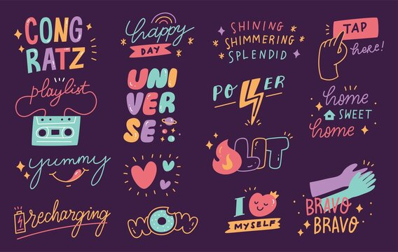 Hand drawn social media stickers set