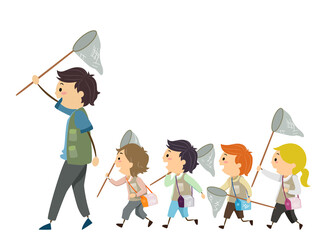 Stickman Kids Man Follow Net Illustration