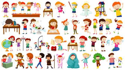 Set of cute kids cartoon character