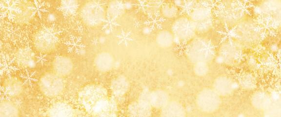 キラキラした雪の結晶の水彩背景