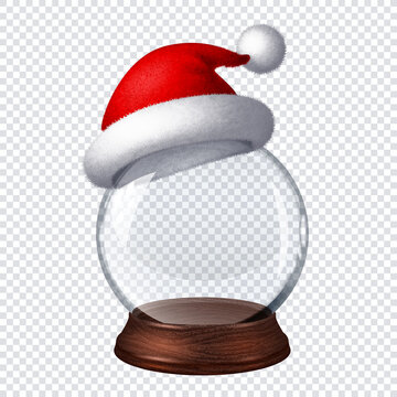 Transparent snow globe with Santa hat on checkered background
