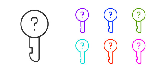 Black line Undefined key icon isolated on white background. Set icons colorful. Vector Illustration.
