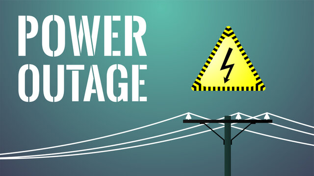 Power outage banner. Blackout concept. Power line. Yellow electricity sign. Big white text