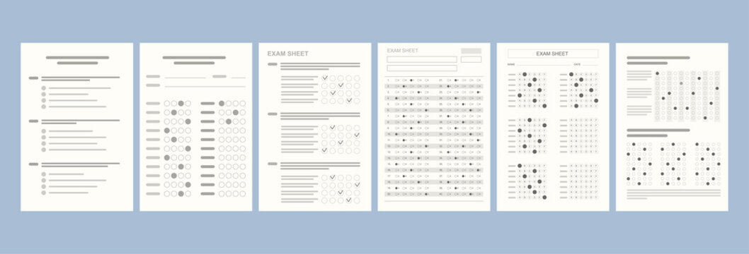 Flat different versions of tests on paper. School and Education. Test score sheet with answers