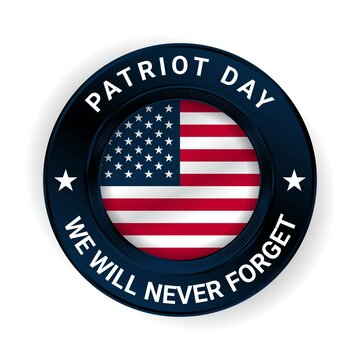 Patriot Day Badge with USA Flag Illustration. Vector Illustration