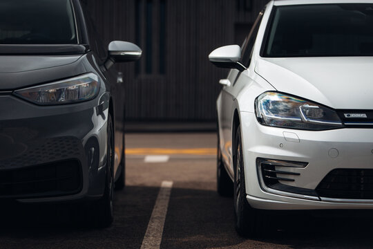 New Volkswagen ID. 3 and Volkswagen Golf 7 electric car at the parking