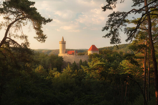 Fairytale castle Kokorin in evening light, Czech Republic